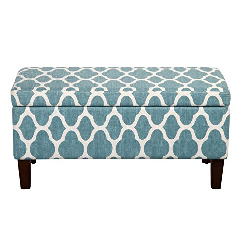 HomePop Large Upholstered Rectangular Storage Ottoman Bench with Hinged Lid, Teal Blue Geometric Review