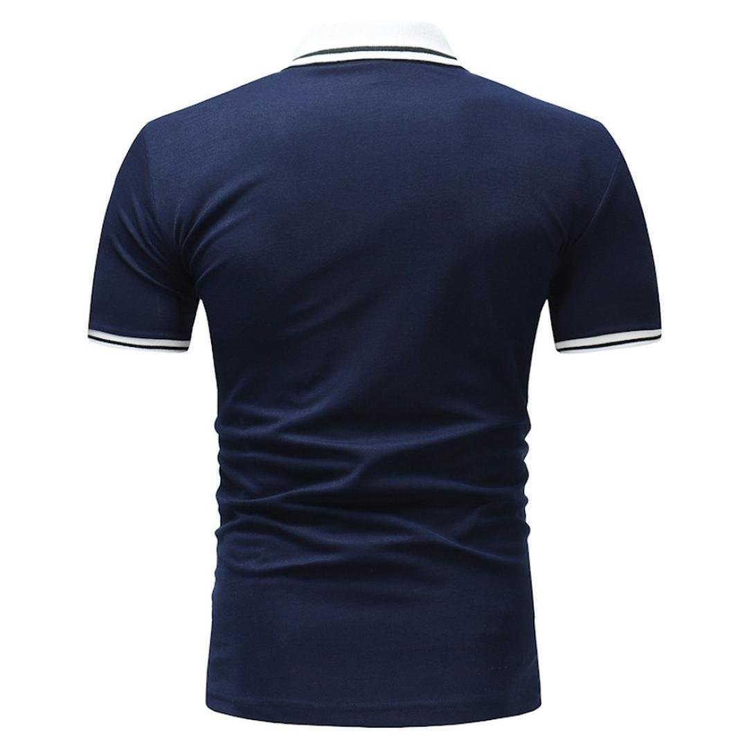 Hot Sale Mens Fashion Slim Fit Short Sleeve Solid Polo Shirts Sport