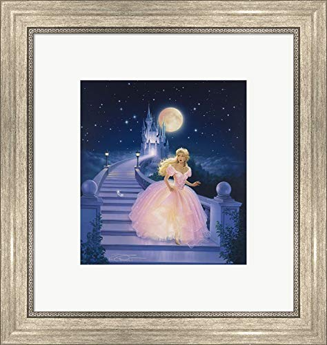 (Cinderella Kirk Reinert Framed Art Print Wall Picture, Silver Scoop Frame, 17 x 18 inches)