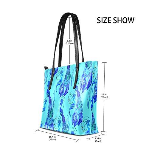 COOSUN Blue Peacock Feathers abstrakte Muster PU Leder Schultertasche Handtasche und Handtaschen Tasche für Frauen