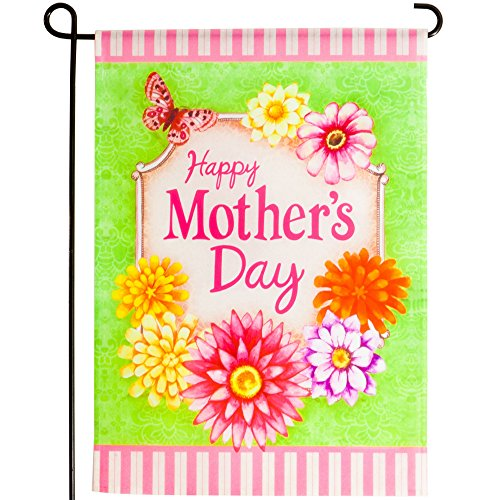 Happy Mothers Day Garden Flag Including the Metal Stands | Decorative Floral Design | 18 X 12 Flag & 41 X 15 Stand Including the 5 Ground Stake. (Mothers Day)