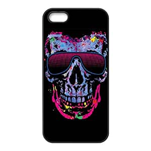 iPhone 5 5s Cell Phone Case Black Neon Skull with Glasses Dqwac