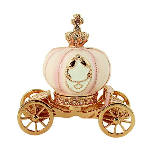 EchoMerx Cinderella Story Pumpkin Carriage Trinket Box Detachable Coach Compartment, Bejeweled, 3-1/4 in. H, Rose (Porcelain Favor Box)