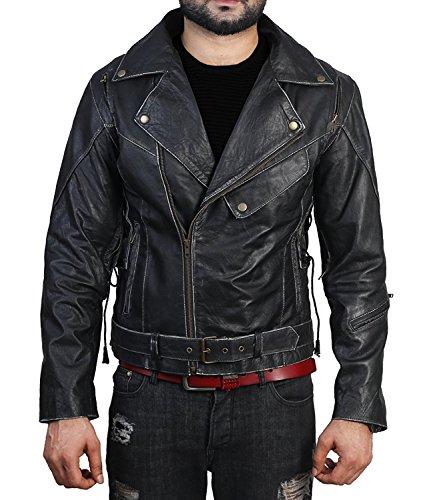 (Men Vintage Cafe Racer Distressed Retro Biker Leather Jackets (XXS - 3XL) (L (Chest - 48