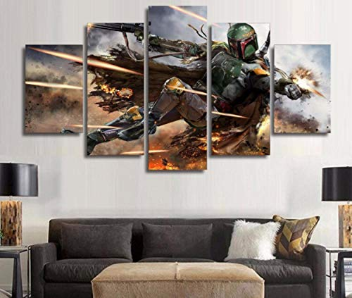 JUNEWIND 5 Star Wars Warrior Boba Fett Wall Art Picture Home Decor Living Room Canvas Print Wall Painting Picture Printing