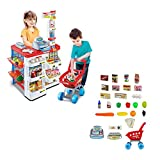 FJY Supermarket Kids Market Stall Toy Shop with Shopping Trolley and Play Food,Red