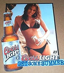 """Bikini girl poster! Sexy """"Get some Summer"""" Coors Light Beer girl in bikini swimsuit promotional bar & pub promo poster pin-up featuring hot brunette woman: Measures approximately 13 by 10 inches"""