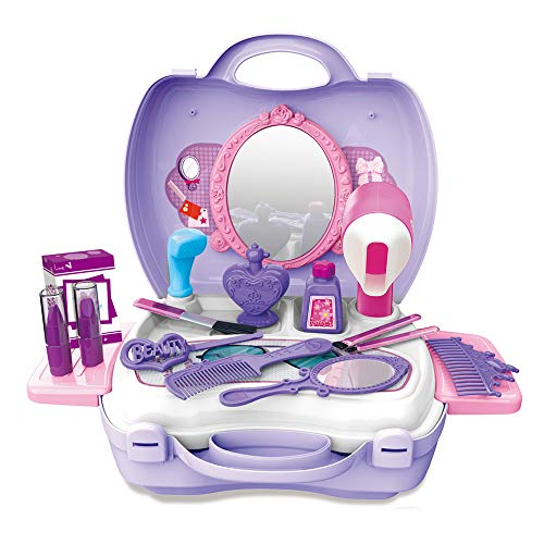 Mummy Makeup For Kids (WenToyce Girls Pretend Hair Salon Kit, Hair Styling Cosmetic Case, 21 Pcs Dress-up Beauty Set with Mirror for Toddler)