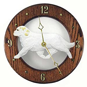 Michael Park Lemon Clumber Spaniel Wall Clock in Dark Oak 12