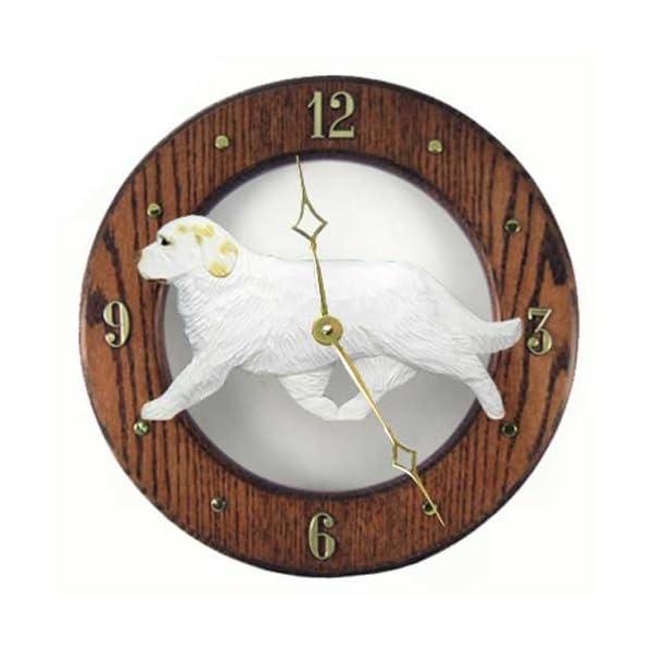 Michael Park Lemon Clumber Spaniel Wall Clock in Dark Oak 1