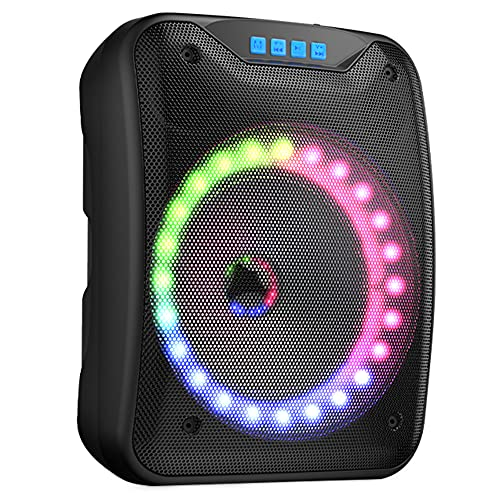 Shinco Portable Bluetooth Speaker with Colorful LED Light, Rich Bass, MP3 Player, TF Card, USB Input, AUX Line-in, 66 ft Wireless Range