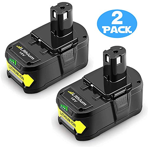 2 Pack 18V 6.0Ah High Capacity Lithium-ion Replacement Battery for Ryobi P104 P105 P100 P102 P103 P107 P109 P108 18…