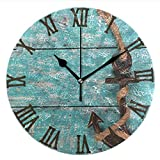 Ladninag Wall Clock Vintage Anchor Silent Non Ticking Decorative Round Digital Clocks Indoor Outdoor Kitchen Bedroom Living Room Review