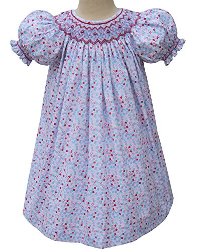 Carouselwear Hand Smocked Floral Girls Dress For Summer Blue and Red