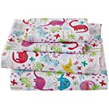 Linen Plus 3pc Crib/Toddler Bed Sheet Set for Girls Dinosaur Pink White Blue Purple Yellow New