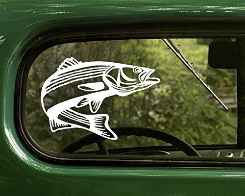 2 Striped Bass Rockfish Decals Sticker White For Window Car Truck Laptop Bumper Rv