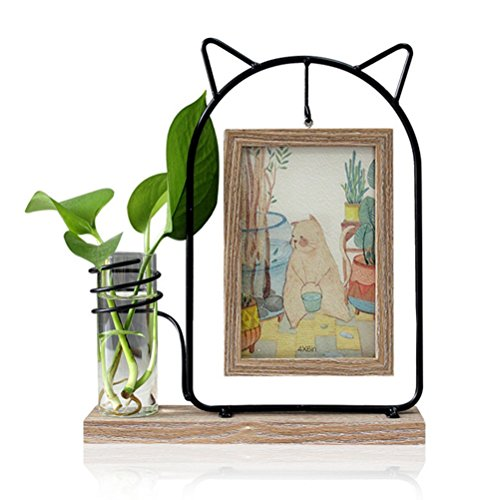 (Leoyoubei Black Metal Cat Head Shape Double-Sided Hanging Picture Frame Brown Holds 2 Pcs 4x6 Inch Vertical Photos with Glass Front for Desk,with Hydroponics or Artificial Plants Glass Vase-Wedding)