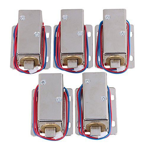 BQLZR Silver 12V Electric Lock Assembly Solenoid for Door Drawer Lock Tongue Down Pack of 5 by BQLZR