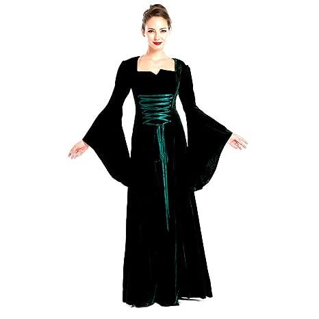 TINGSHOP Disfraz Traje Oscuro del Traje Verde Medieval ...