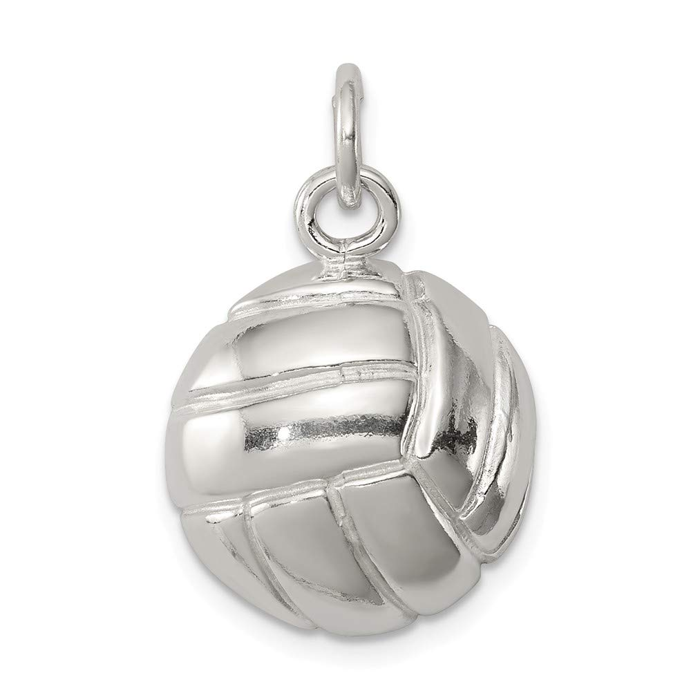 925 Sterling Silver Volleyball Charm and Pendant