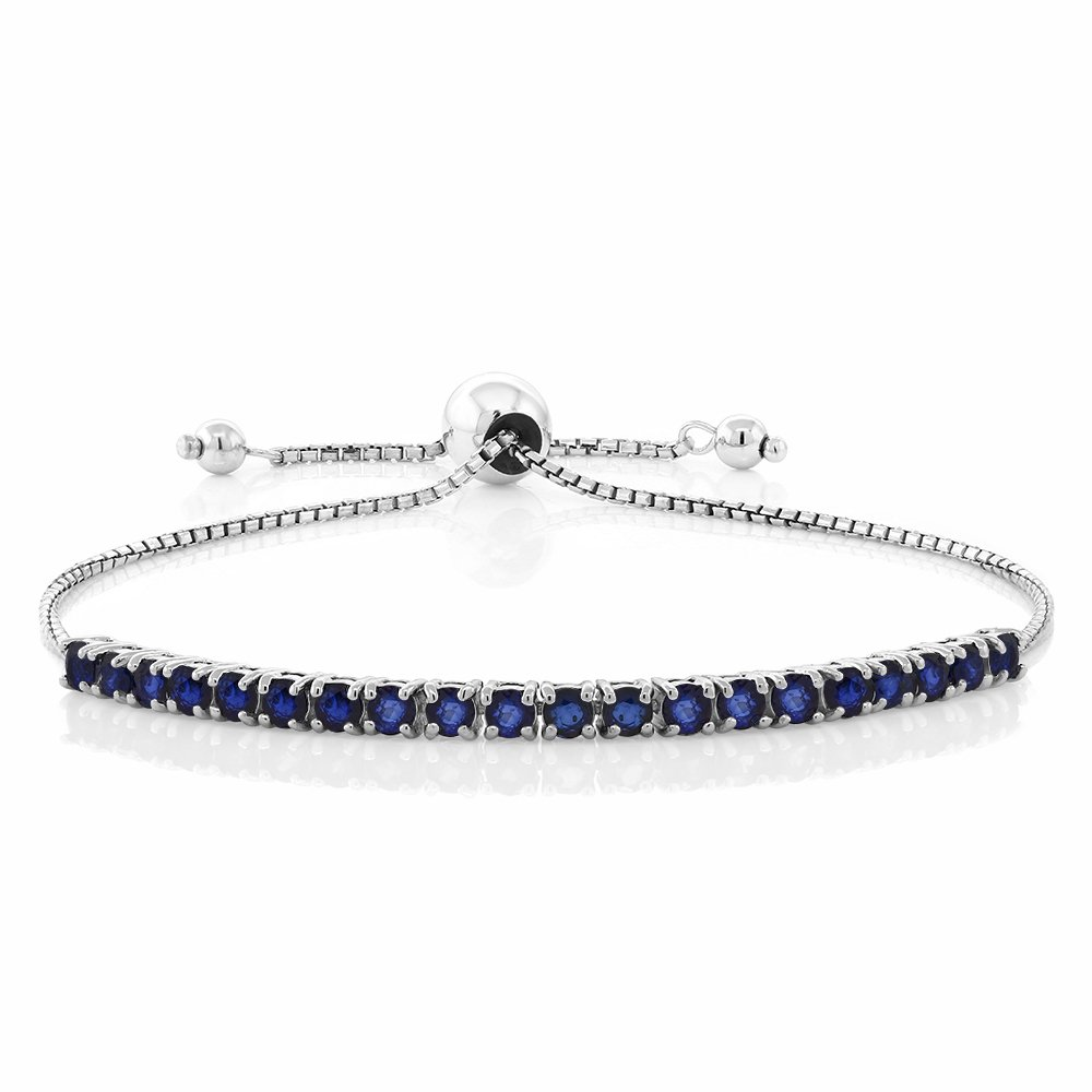 Gem Stone King Sterling Silver Blue Sapphire Tennis Bracelet Gemstone Birthstone 2.50 cttw Fully Adjustable Up to 9 Inch by Gem Stone King