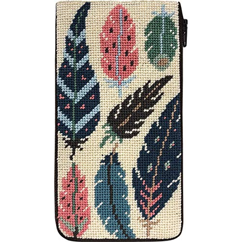 - Stitch & Zip Eyeglass Case Needlepoint Kit- Feathers