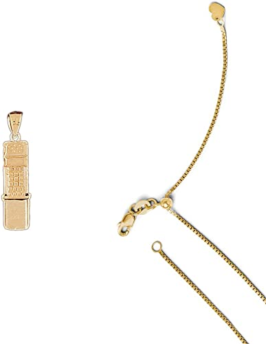 14K Yellow Gold Moveable Cellular Phone Pendant on an Adjustable Chain Necklace