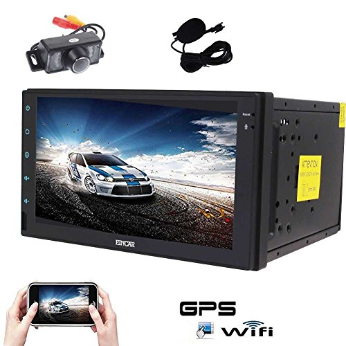 Android 6.0 Car Stereo Quad Core GPS Car Radio Double Din 7'' Touch Screen Headunit in Dash Navigation Support 1080P Video Bluetooth OBD2 Microphone+Reversing Camera