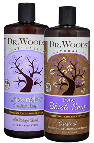 Dr. Woods Black Soap and Lavender Castile Soap, Body Wash with Organic Shea Butter Variety 2 Pack (Dr Woods Black Soap With Organic Shea Butter)