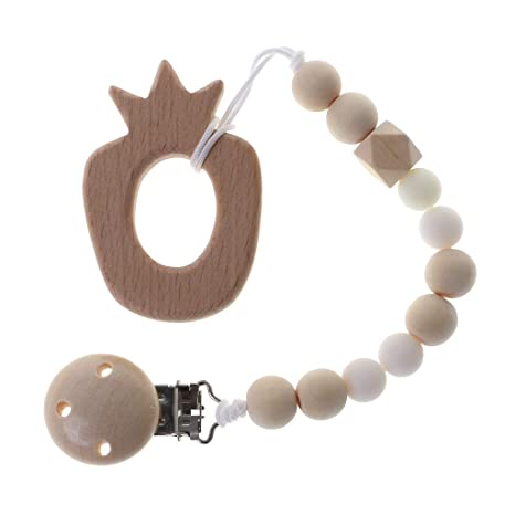 Cadena para chupete de Tandou, de madera, perlas de silicona ...