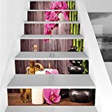 Stair Stickers Wall Stickers,6 PCS Self-Adhesive,Spa Decor,Spa Orchid Flowers Rocks Bamboo Asian Style Aromatherapy Massage Therapy Decorative,Stair Riser Decal for Living Room, Hall, Kids Room Decor