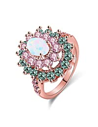 Women Rings AAA Cubic Zirconia Rhodium Gold Plated Multi-Stone Party Club Fashion Jewelry Mother 's Day Gift Size 5-10
