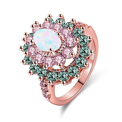 Jiangyue Women Rings AAA Cubic Zirconia Rhodium Gold Plated Multi-Stone Party Club Fashion Jewelry Size 5-10