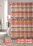 Zen Peach 18-piece Bathroom Set: 2-rugs/mats, 1-fabric Shower Curtain, 12-fabric Covered Rings, 3-pc. Decorative Towel Set
