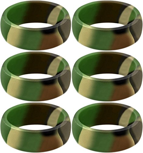 SayitBands Six of New Camo Silicone Ring Size 11 by SayitBands