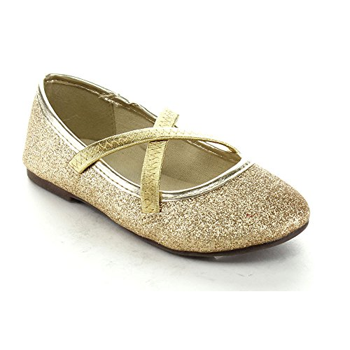 Gold Toddler AG19 JELLY BEANS Mirona Glitter Cap Toe Ribbon Bow Mary Jane Elastic Band Ballet Flat