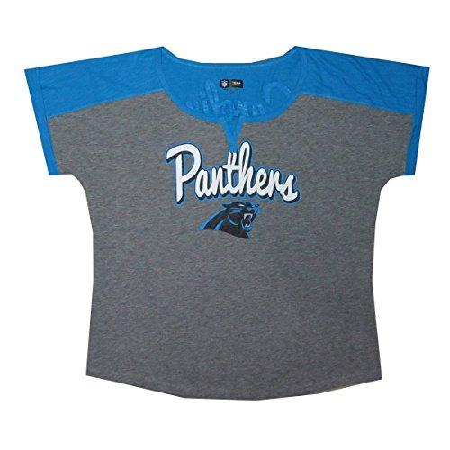 PLUS SIZE Womens CAROLINA PANTHERS Athletic Slit-V Neck T-Shirt / Tee 2XL Grey