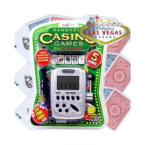 Casino 5 Games Hand Held Electronic Game with FM Radio (Poker Machines)