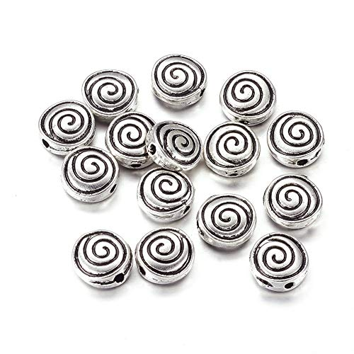 Craftdady 50Pcs Antique Silver Flat Round with Spiral Pattern Spacer Beads 8x8mm Tibetan Lead Free & Nickel Free & Cadmium Free Metal Coin Disc Loose Beads for DIY Jewelry Making with 1mm Hole ()