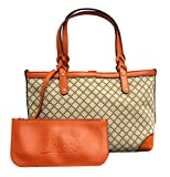Gucci Craft Beige Canvas Handbag with Orange Leather Trim 269878 9711