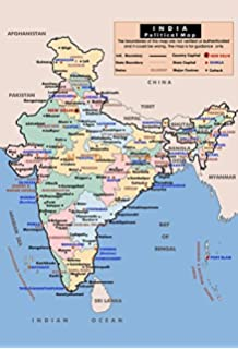 Vinyl print political map of india 48x3992 inches maps of india mahalaxmi art india political map in hindi wall poster print on art paper 13x19inches multicolor gumiabroncs Images