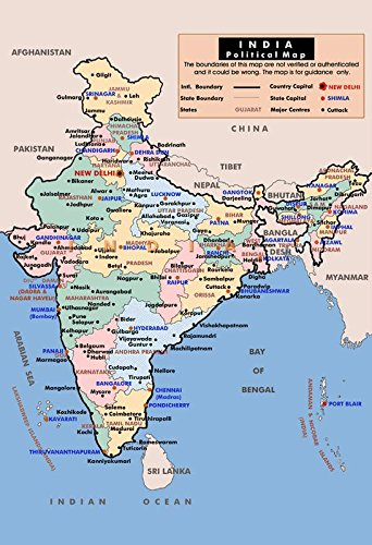 Mahalaxmi art india political map in hindi wall poster print on art mahalaxmi art india political map in hindi wall poster print on art paper 13x19inches multicolor gumiabroncs Image collections