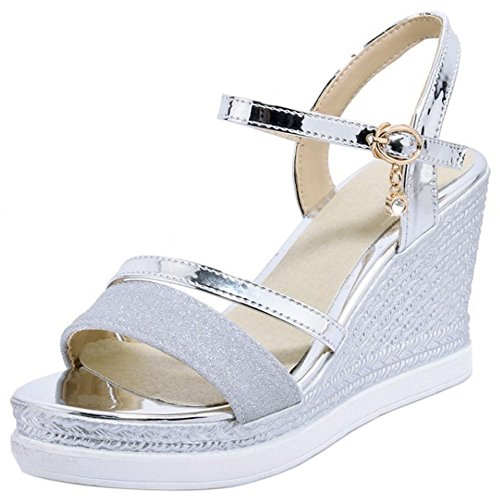 Coolcept Women Elegant Ankle Strap Sandals High Wedge Heel Open Toe Slingback Shoes Size Silver xPza3RfoyH