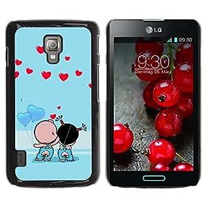 LECELL -- Funda protectora / Cubierta / Piel For LG Optimus L7 II P710 / L7X P714 -- Cute Couple Kiss Love --