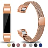 Maledan Metal Bands Compatible with Fitbit Alta and Alta HR, Stainless Steel Milanese Loop Replacement Accessories Bracelet Strap with Unique Magnet Lock for Fitbit Alta/Alta HR, Rose Gold, Small