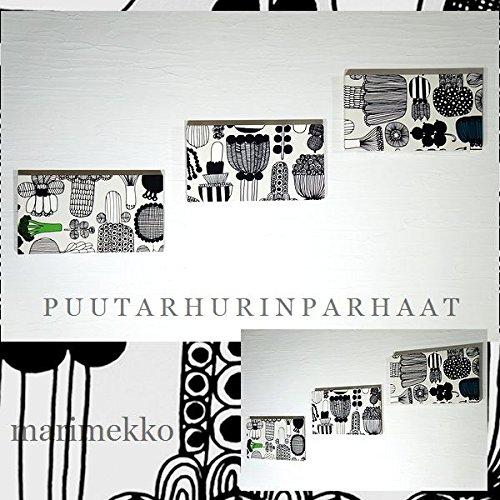 送料無料 ファブリックパネル アリス marimekko PUUTARHURIN PARHAAT プータルフリンパルハート 40×22×2.5cm 3枚セット マリメッコ インテリアボード 壁掛け 北欧 【同梱可】 B01850QC80
