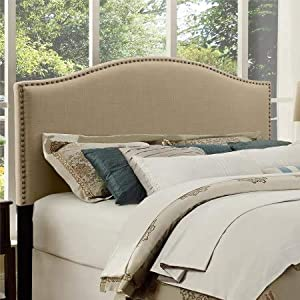Better Homes and Gardens Grayson Linen Headboard with Nailheads, (King, Gray) (King, Gray)