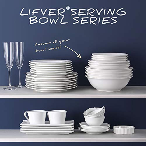 LIFVER Cereal Bowls,20 Ounce Porcelain White Bowl for Soup,Dessert,Ice Cream,Rice,Snack,Oatmeal Breakfast,Dishwasher & Microwave Safe Kitchen Bowls Set,7 Inch