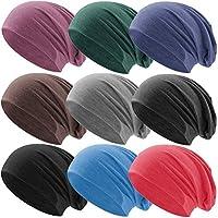 Klassische Jersey Slouch Long Beanie Mütze, leicht und weich, Reversible Bicolor für Damen und Herren Wintermütze