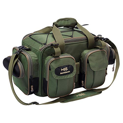 Bassdash Fishing Tackle Backpack Lightweight Tactical Shoulder Bag Soft Tackle Box with Rod Holder and Protective Rain Cover